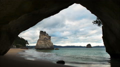 Afternoon view of cathedral cove Stock Footage