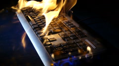 Tongues of fire on th Keyboard in slow motion - stock footage