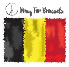 Vector illustration Pray for Belgium 22 March 2016. Stock Illustration
