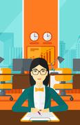 Woman signing contract - stock illustration