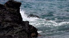 Hawaiian Islands: Surf Crashing on rocks at 120FPS / Title Plates Stock Footage