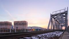 Railway bridge in Ust-Kamenogorsk Stock Footage