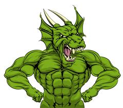 Tough Dragon Mascot - stock illustration