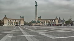 Budapest Heroes Square or Heshek Tere - stock footage