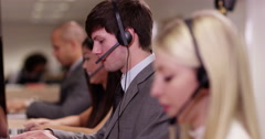 4k, Portrait of an attractive man with headsets on smiling . Stock Footage