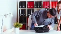 Mechanical repairs old typewriter in the office Stock Footage