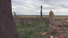 menhirs Khakassia - a legacy of the Scythians - stock footage