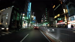 Driver's POV through the neons of  Roppongi crossing. Stock Footage
