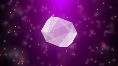 Stock Video Footage of Slowly rotating diamond, beautiful background with particles. 4K animation loop.