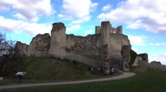 Conisbrough Castle England school history trip 4K Stock Footage