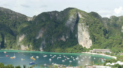 Aerial view to beautiful bay near the Koh Phi Phi Don island Stock Footage