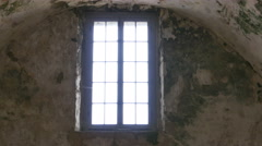 Looking Out Window From Inside Old Stone Fort from the 1500s, 4K Stock Footage