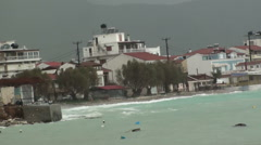 Storm in a coastal village Stock Footage
