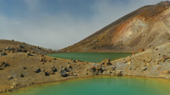 Two emerald lakes on the tongariro crossing Stock Footage