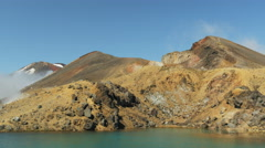 Emerald lake and steam vent on the tongariro crossing Stock Footage