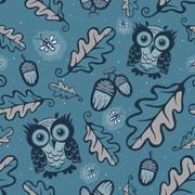 Owls and fireflies pattern Stock Illustration