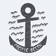 Anchor Pacific ocean - stock illustration