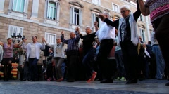 People perform sardana dance at the street in Barcelona, Spain. Stock Footage