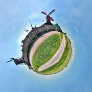 Windmills of Zaanse Schans, Netherlands, little planet effect - stock photo