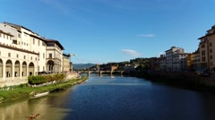 Florence (Firenze), Arno river. - stock footage