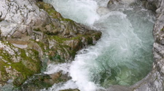 Closeup view to the rapid water stream of mountain river Stock Footage