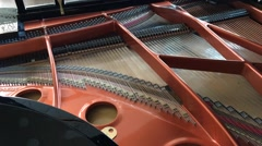 Close-Up of Acoustic Grand Piano From Within. Establishing Shot. Stock Footage