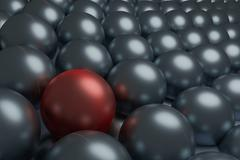 One red and  silver spheres, conceptual 3d render - stock illustration