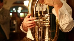 Folk musicians play music in the Hofbrauhaus - stock footage