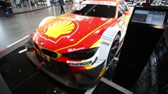 BMW sportcar on the exibition - stock footage