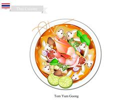 Tom Yum Goong or Thai Spicy and Sour Soup - stock illustration