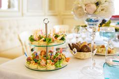The banquet table in restaurant - stock photo