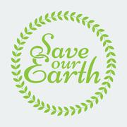 Earth Day Eco Green Vector Design. Circle Organic Leafs - stock illustration