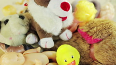 Old soft toys and dolls Stock Footage
