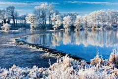 River shannon in winter, worrels end, castleconnell, county limerick, ireland - stock photo