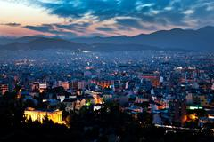 Cityscape at night, athens, greece Stock Photos