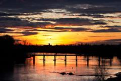 Sunset over river shannon, limerick, munster, ireland Stock Photos