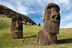 Moai statues, rano raraku, easter island, polynesia Stock Photos
