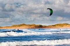 Kite boarder, doughmore beach, doonbeg, county clare, ireland Stock Photos