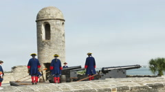 Stock Video Footage of St Augustine FL - Reenactment of Cannon Being Fired Part TWO