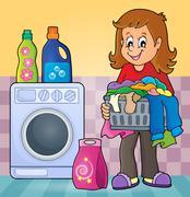 Laundry theme image - eps10 vector illustration. Stock Illustration