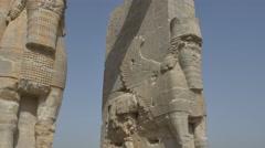 Persepolis Lamassu statues Stock Footage