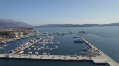 Aerial view of Porto Montenegro. Tivat city Stock Footage