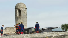 Stock Video Footage of St Augustine FL -  Reenactment of Cannon Being Fired Part THREE