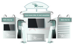 Creative exhibition stand design. Booth template. Corporate identity vector Stock Illustration