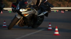 Motorcycle Driving Lessons Moto Gymkhana Motorcyclists Stock Footage