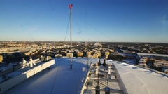 Meteo station on top of building, Stockholm Stock Footage