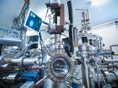 View of LEED (low-energy electron diffraction) instrument in materials science Stock Photos