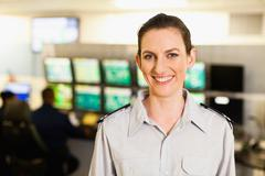 Security personnel in control room Stock Photos