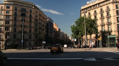 BARCELONA, SPAIN - APRIL 24, 2014: Cars pass by the street in Barcelona, Spain. - stock footage