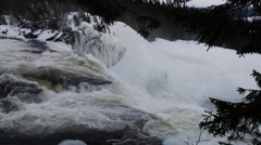 Sweden Tannforsen waterfall, winter Stock Footage